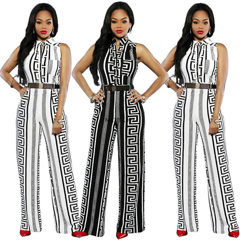 Women's loose slim casual jumpsuit print straight trouser