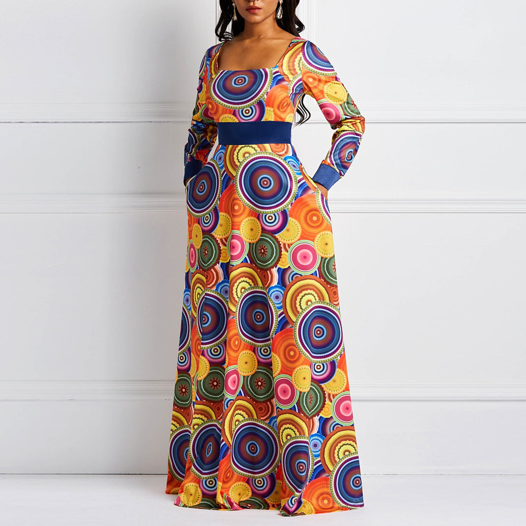 Women Maxi Dresses Elegant Casual Aline Square Neck High Waist Geometric Color Block Print Female Fall Orange Party Sweet Dress