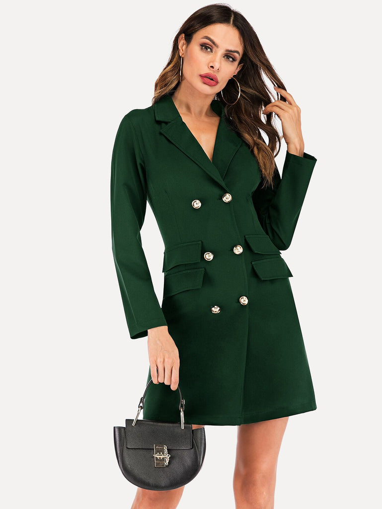 african-clothing-online,Spring Suit Blazer Women 2019 New Casual Double Breasted Pocket Women Long Dress Jacket Elegant Long Sleeve Blazer Outerwear,African Clothing Online,