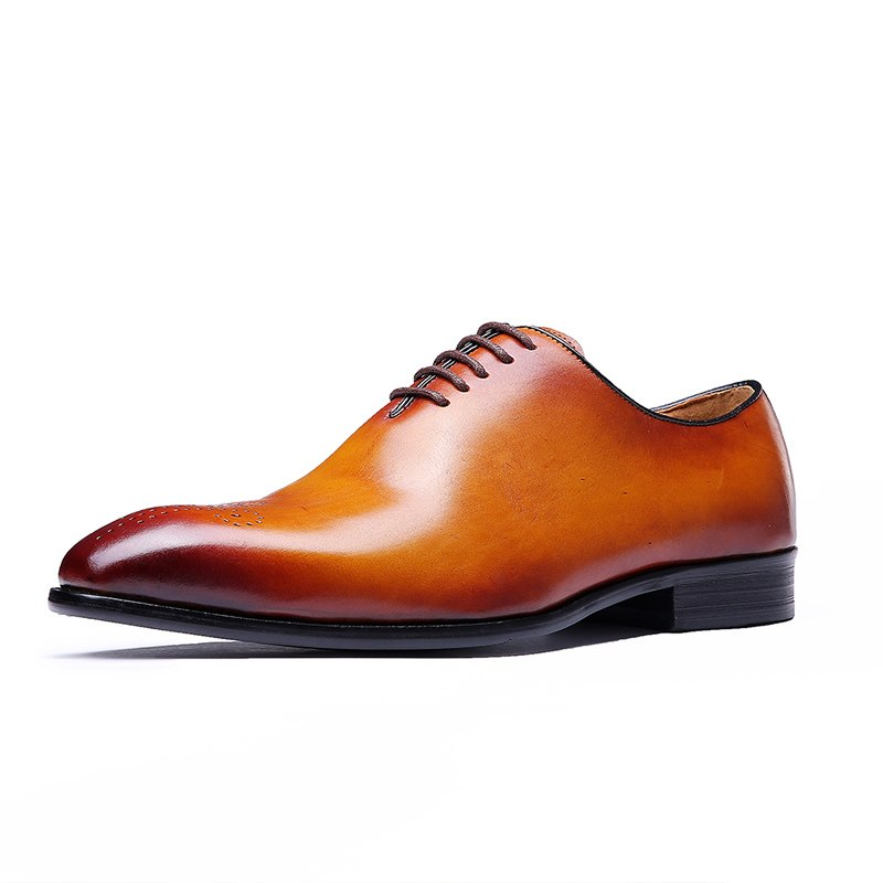 FELIX CHU Brand Classic Genuine Leather Men Whole Cut Plain Oxford Lace Up Wedding Party Man Brown Dress Shoes Brogue Carved - African Clothing Online