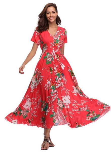 2018 Long Summer Floral Maxi Dress Women Flower Print Casual Split Beach Dress Ladies Elegant Cotton Vintage Boho Party Dresses (L-XXL) - African Clothing Online
