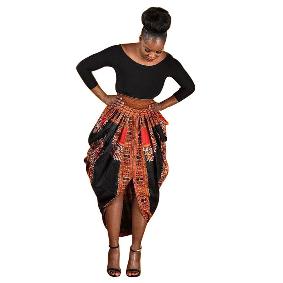#5505  National style Women Irregular African Print Dress Casual Long Sleeve Dresses
