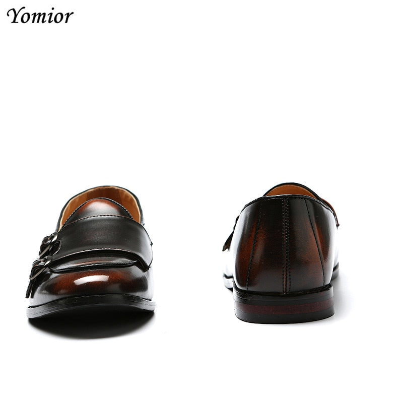 Yomior 2018 Men Casual Leather Shoes Fashion British Flats Comfortable Male Business Dress Shoes Formal Wedding Party Oxfords - African Clothing Online