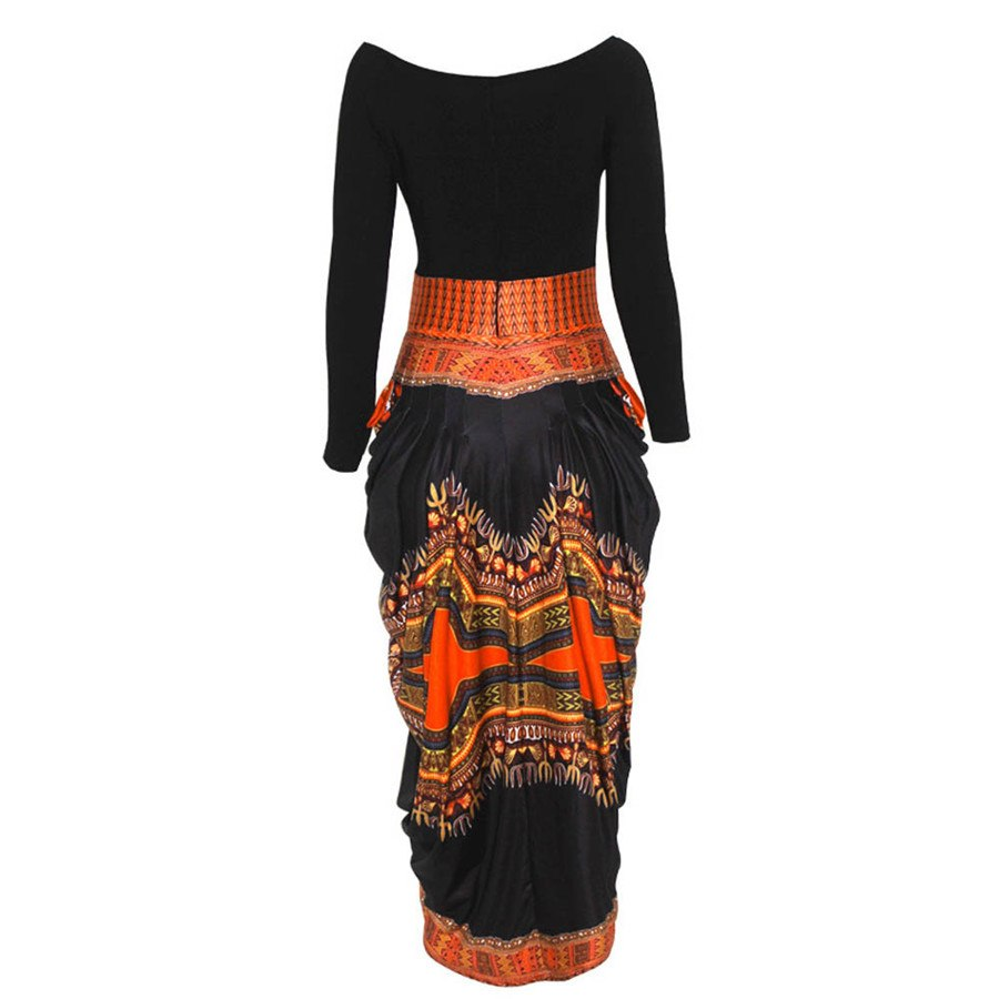 National style Women Irregular African Print Dress Casual Long Sleeve Dresses - African Clothing Online