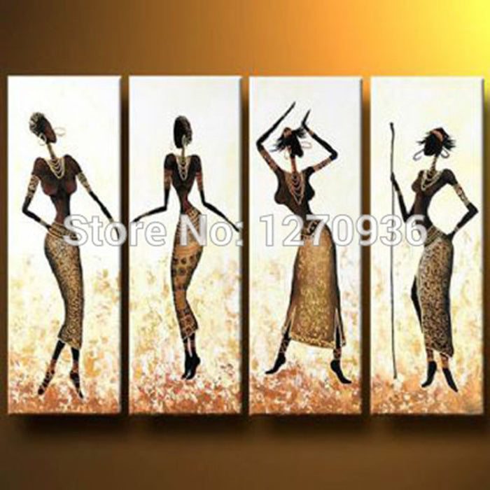 Pretty Sexy Beautiful Four Women is Dancing with Slim Yellow Skirt 100% Handmade African Women Figure Oil Painting On Canvas