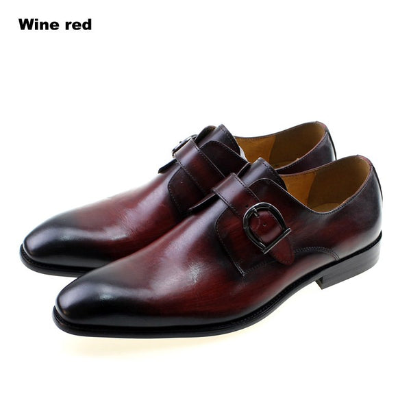 FELIX CHU European Style Handmade Genuine Leather Men Brown Monk Strap Formal Shoes Office Business Wedding Dress Loafer Shoes - African Clothing Online