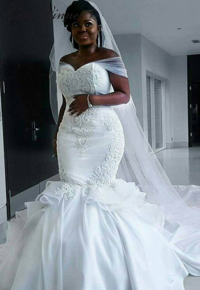 C.V  Elegant Satin Vintage Mermaid Wedding dress with long wrap Pure White Lace Embroidery African mermaid wedding Gown W0216