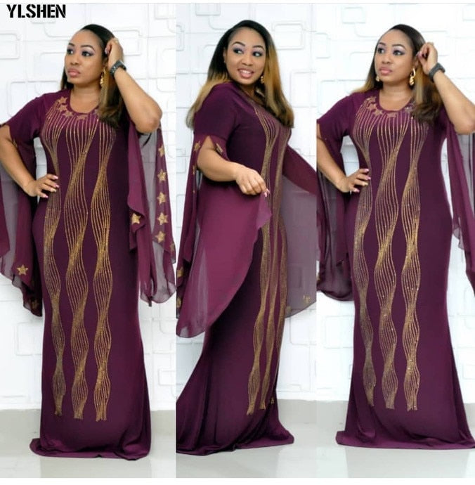 african-clothing-online,African Dresses for Women Dashiki Diamond African Clothes Bazin Broder Riche Sexy Slim Ruffle Sleeve Robe Evening Long Dress,African Clothing Online,