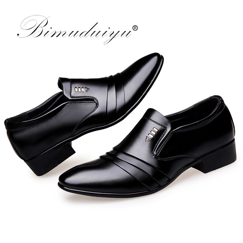 african-clothing-online,BIMUDUIYU Luxury brand PU Leather Fashion Men Business Dress Loafers Pointy Black Shoes Oxford Breathable Formal Wedding Shoes,African Clothing Online,