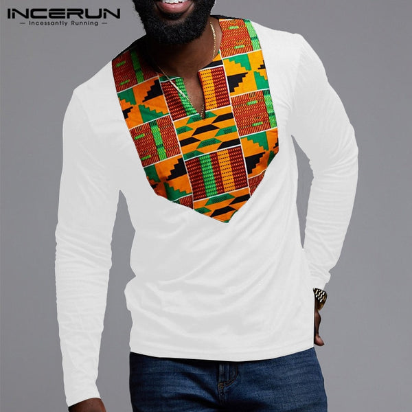 2020 Fashion African Clothing Men T Shirt Printing Long Sleeve Ethnic Style V Neck Tops African Dashiki T-shirts Hombre INCERUN