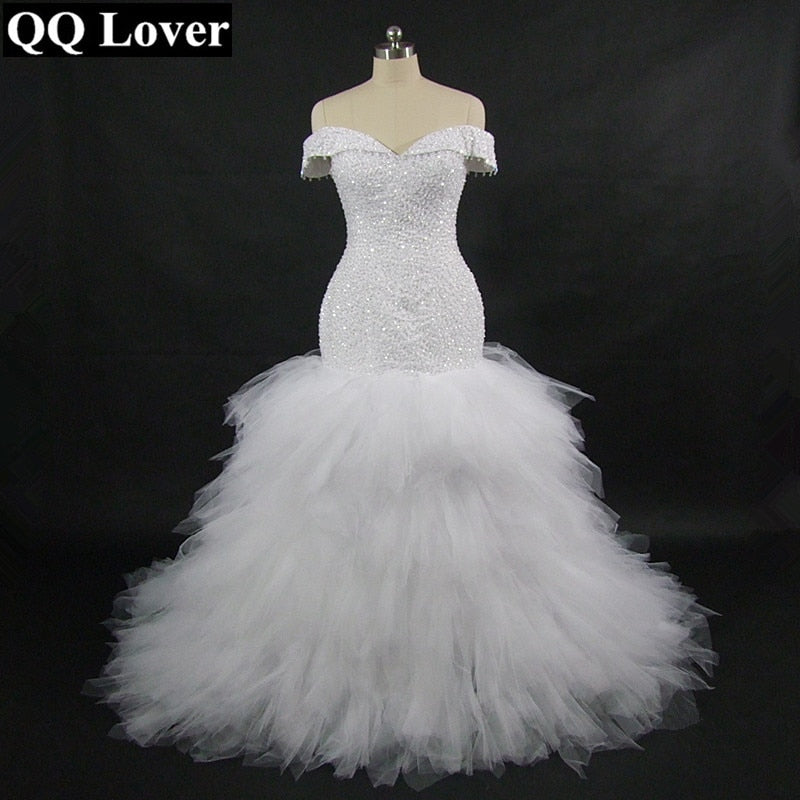 QQ Lover 2019 New African Off the Shoulder Mermaid Wedding Dress With Video Custom-made Plus Size Sexy Beaded Wedding Gown - African Clothing Online