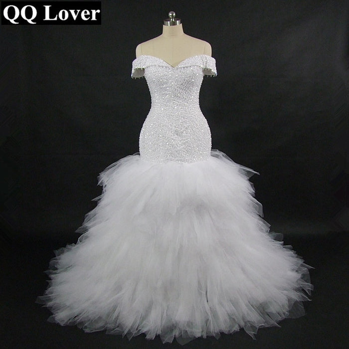 QQ Lover 2019 New African Off the Shoulder Mermaid Wedding Dress With Video Custom-made Plus Size Sexy Beaded Wedding Gown