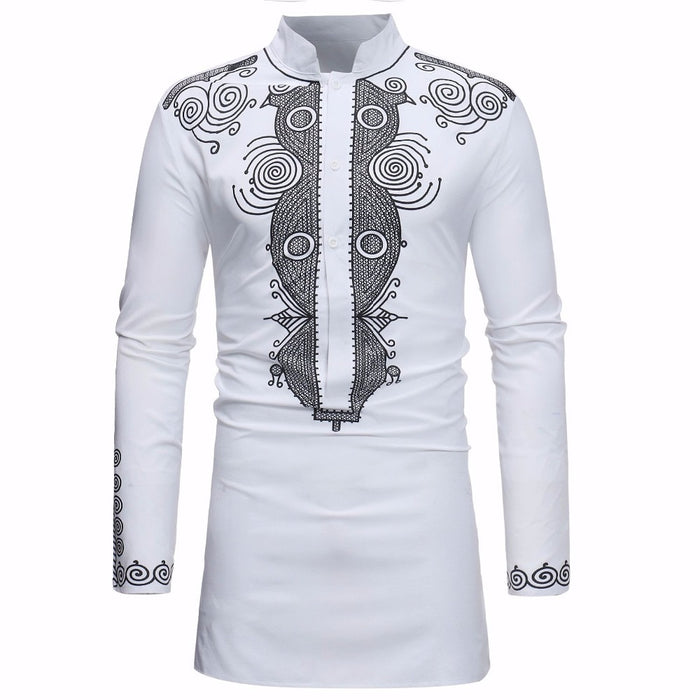 African Dashiki Shirt Men 2018 Spring Autumn New Stand Collar Long Sleeve Shirt Men Casual African Clothing Camisas Para Hombre