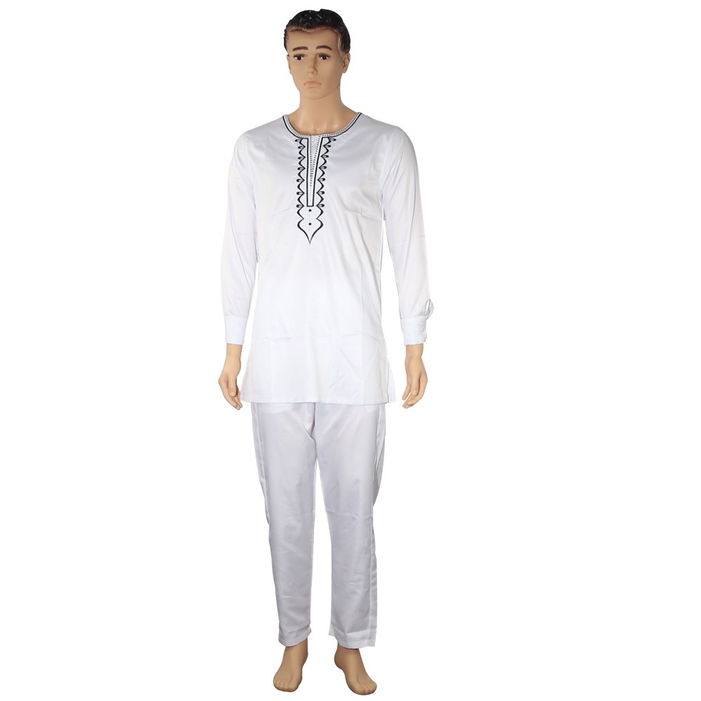 no cap african clothes men dashiki bazin riche suits tops shirt pant 3 pieces set embroidery white african mens clothing