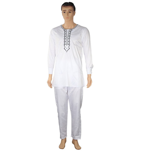 no cap african clothes men dashiki bazin riche suits tops shirt pant 3 pieces set embroidery white african mens clothing - African Clothing Online