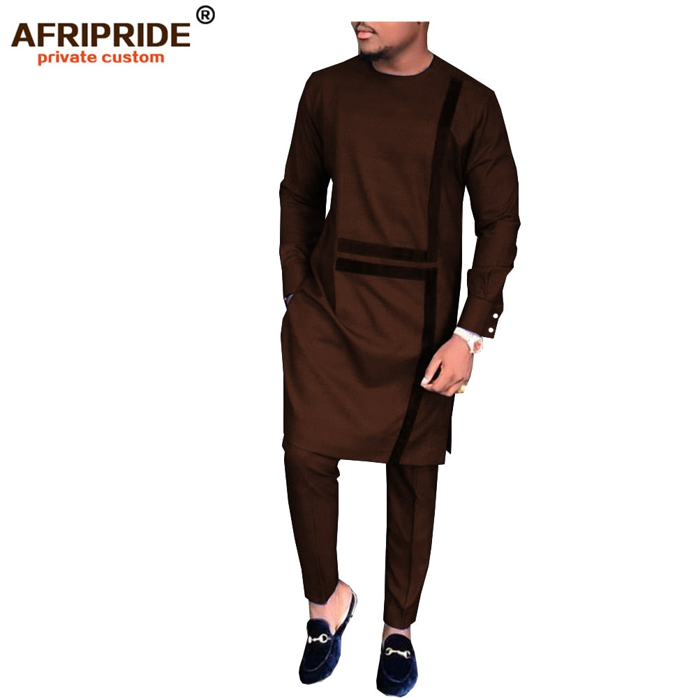 2019 spring&autumn african set for men AFRIPRIDE tailor made full sleeve long top+full length pants men's casual set afcol29(P2)