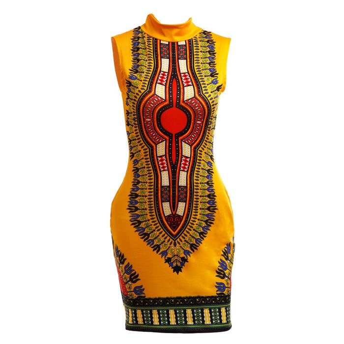 New Summer Print Sexy Mini Dress Women Traditional African Print Dashiki Dress Elegant Sleeveless Casual Bodycon Dresses