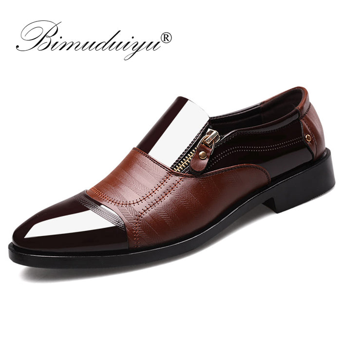BIMUDUIYU Fashion Oxford Business Men Shoes Soft Breathable Men Formal Shoes Pointed Toe Luxury brand PU Leather Oxford Shoes