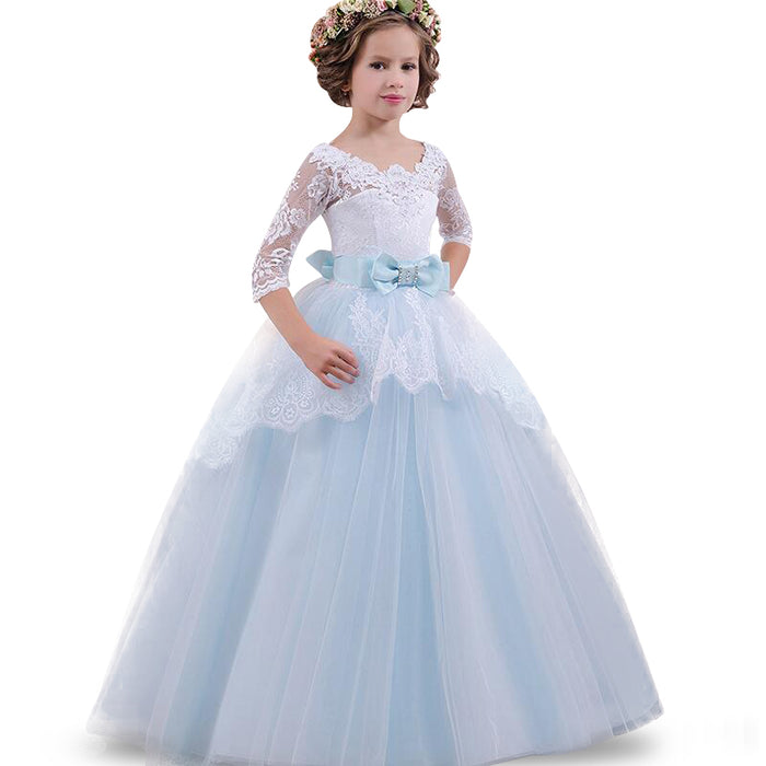 2018 Teens Party prom Dress Wedding Flower Girl Dress Kids Girls elegant Princess Sleeveless Pageant Formal long Dress