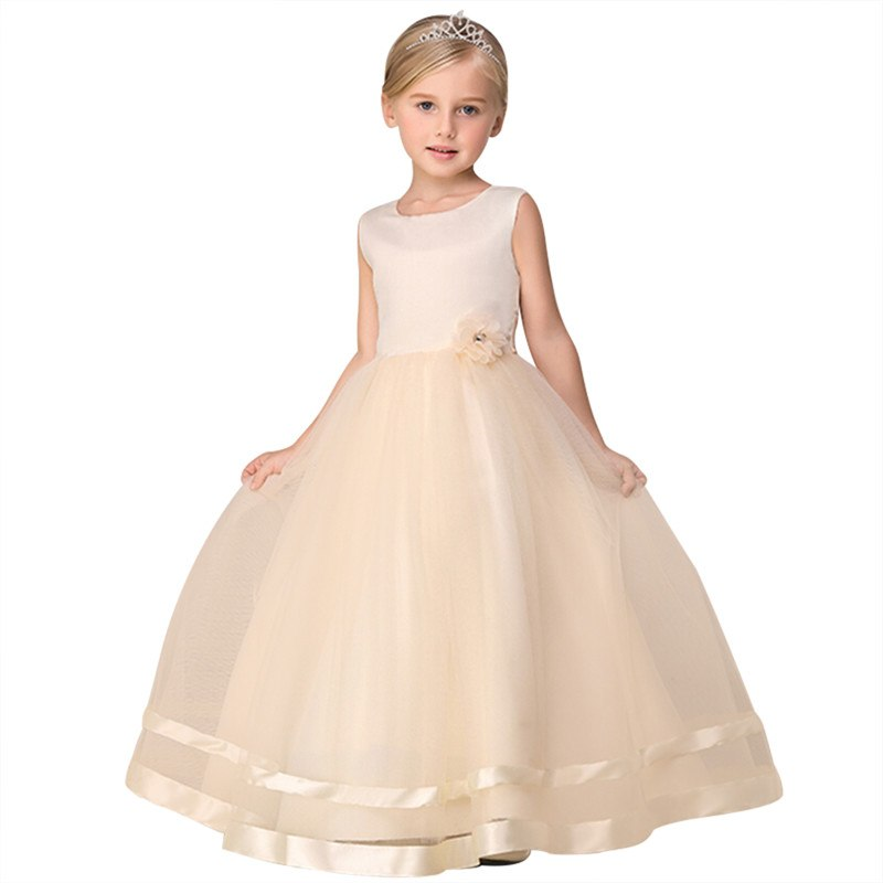 Elegant 2018 New Summer Flower Girl Dress Kids Baby Teen Wedding Party Princess Dress Prom Ankle-Length Floral Ball Gown Dress