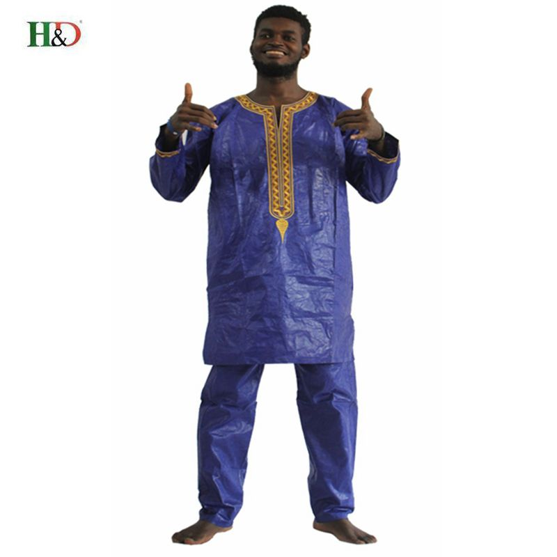 H&D african clothes for men dashiki fabric suits mens bazin riche clothing africa dresses male  men tops shirts pants set 2 pcs - African Clothing Online