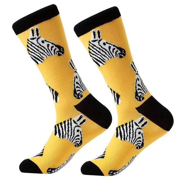 MYORED 1 pair men socks combed cotton cartoon animal bird shark zebra corn watermelon sea food geometric novelty funny socks - African Clothing Online