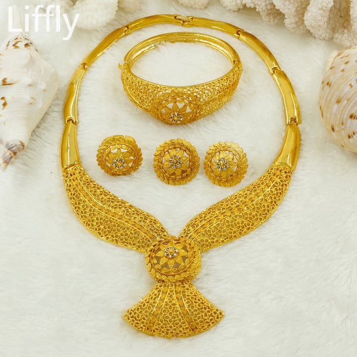 Liffly Wedding Bridal Dubai Gold Jewelry Sets for Women Crystal Necklace Earrings African Beads Jewelry Set Wholesale Design - African Clothing Online