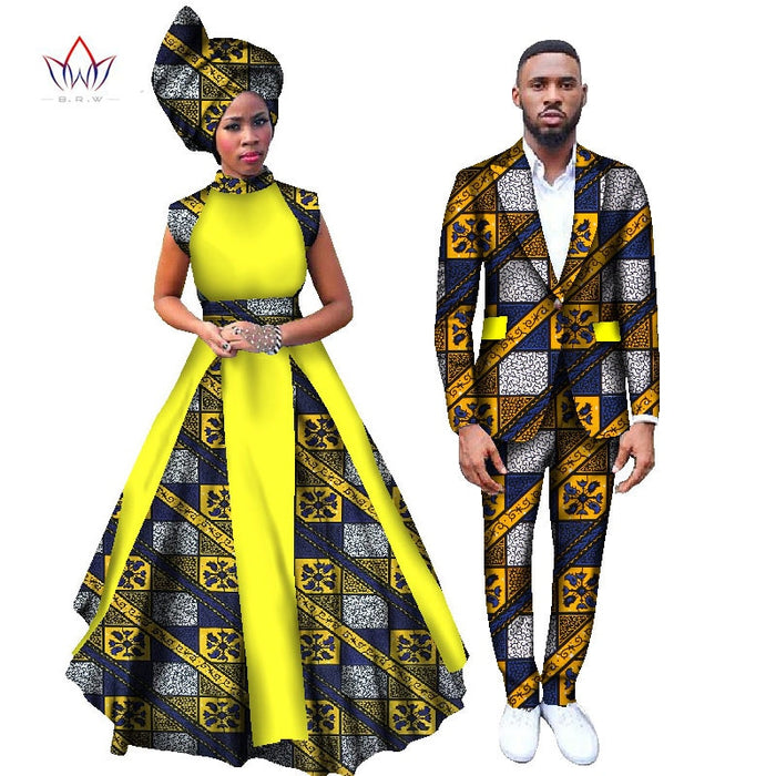 2017 Women Dresses and Men's Blazer Set Ankara Women African Print Clothing Dashiki Maxi Dress Plus Size Africa Clothing WYQ58