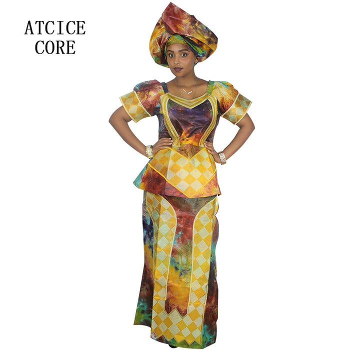 african dresses for women 100% COTTON NEW AFRICAN FASHION DEISGN BAIZN RICHE EMBROIDERY  african clothes afcol305 - African Clothing Online