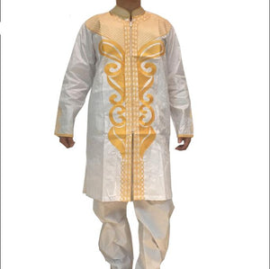 Mens traditional african clothing Plus size african clothing Bazin riche Long sleeve 2016 100% cotton Embroidery - African Clothing Online
