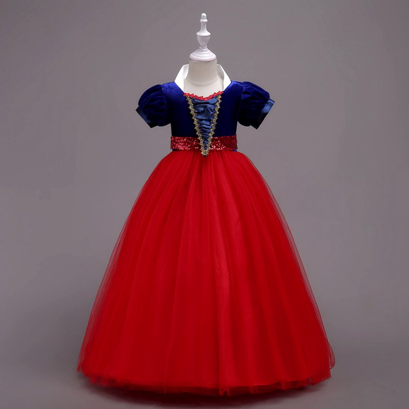 african-clothing-online,MUABABY Girls Snow White Princess Dress Puff Sleeve Deluxe Prom Party Teen Dress Children Layered Cosplay Costume for 4-14 Years,African Clothing Online,