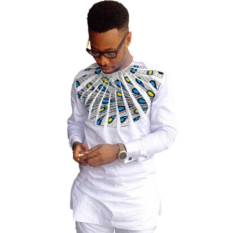african-clothing-online,African fashion shirts men ankara print long sleeve dashiki shirts white cotton and wax patchwork o-neck top of africa clothing,African Clothing Online,