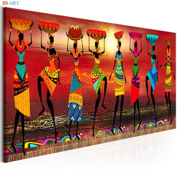 African Women Dancing Print Colored Poster Canvas Painting Tribal Wall Art Wall Pictures for Living Room Decoration - African Clothing Online