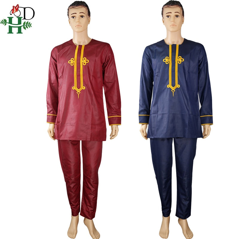 HD dashiki mens top pant 2 pieces set african men clothes 2020 african embroidered clothing for men dashiki shirt with trouser