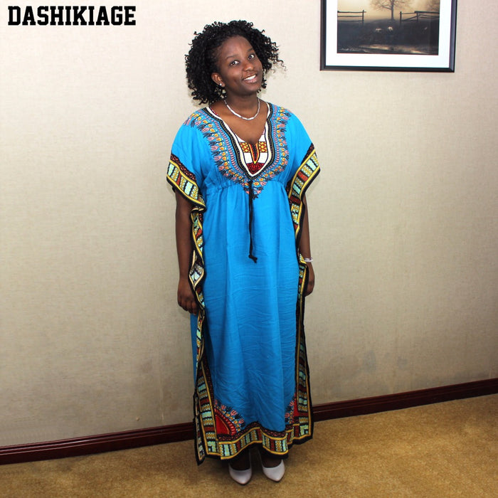 Dashikiage Women's Caftan Dress Kaftan dashiki Hippie Boho Maxi Gown Dress