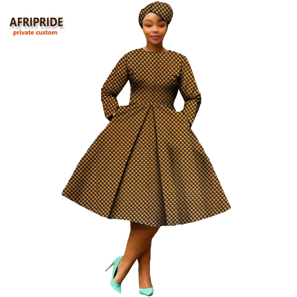 african clothing 2019 autumn women dress AFRIPRIDE full sleeve calf-length ball grown women casual dress with headscraf A7225111(P2) - African Clothing Online