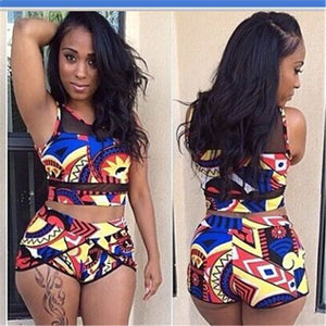 Women High Waist Bikini Swimsuits 3XL Plus Size Swim Wear Bathing Suit African Print Biquini  Large Two Piece Neck Swimwear 2019 - African Clothing Online