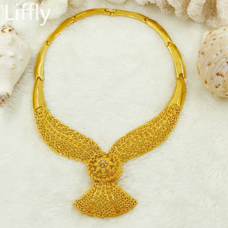 african-clothing-online,Liffly Wedding Bridal Dubai Gold Jewelry Sets for Women Crystal Necklace Earrings African Beads Jewelry Set Wholesale Design,African Clothing Online,