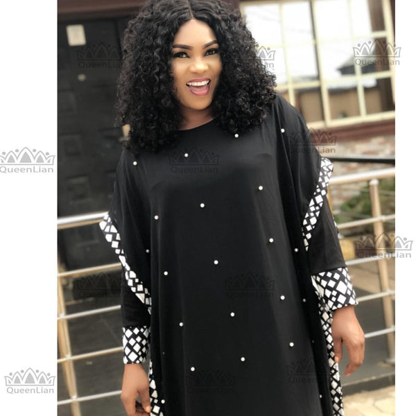 2018 New African Design Bazin Long  Sleeve Dashiki Dress For Lady  afcol72 - African Clothing Online