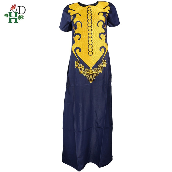 H&D 2019 african dresses for women embroidery long dress dashiki clothes plus size lady short sleeve maxi dress robes africaines