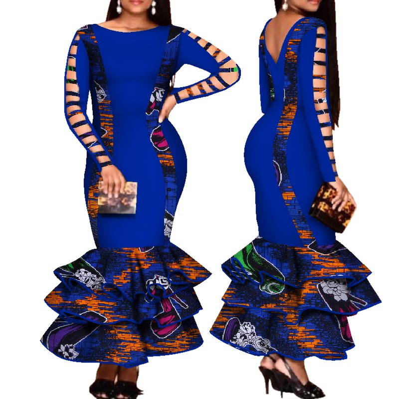 African Dress for Women Hollow Bandage Long Sleeve Mermaid Maxi Dresses Women Plus Size Sexy Backless Wedding Party Dress pt1 - African Clothing Online