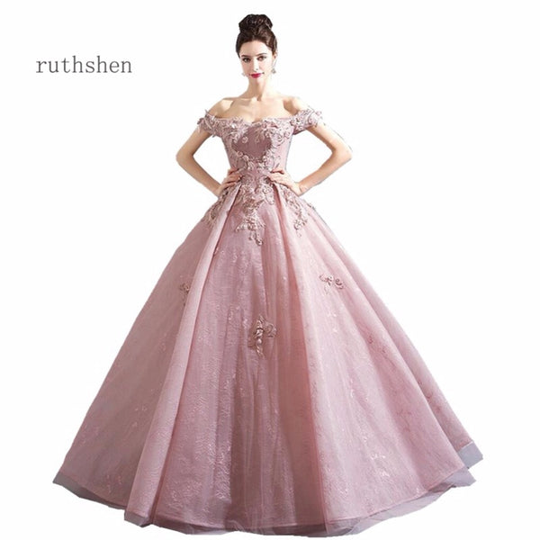 ruthshen Luxury 2018 Sweet 16 Teens Prom Dresses Floor Length New Appliques Party Gown Evening Dress Vestidos De Festa For Event - African Clothing Online