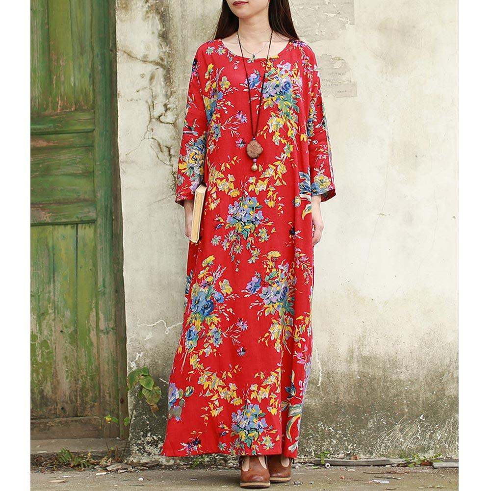 african-clothing-online,EaseHut 2019 New Vintage Women Maxi Floral Dress Plus Size Long Sleeves Pockets O Neck Cotton Linen Loose Robe Dresses Vestidos,fireselldeals,