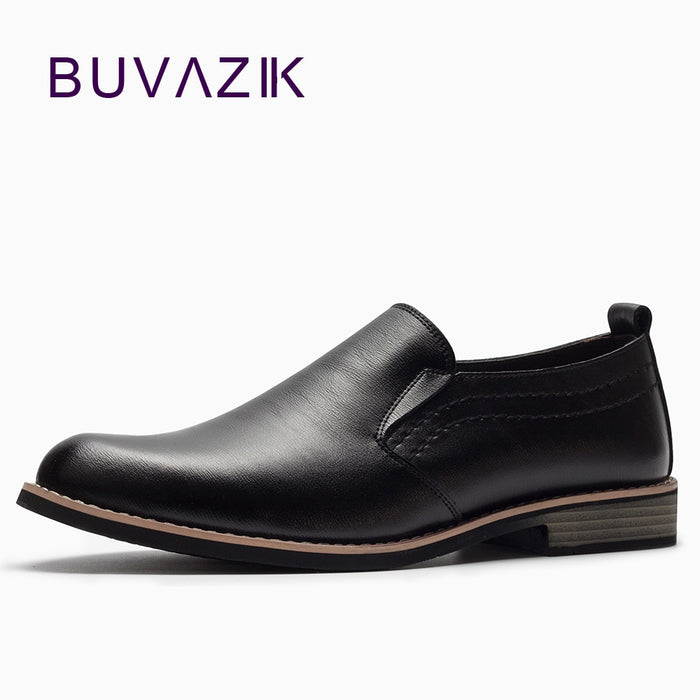 BUVAZIK Luxury Brand Leather Concise Men Business Dress Pointy Black Shoes Breathable Formal Wedding Basic Shoes Men