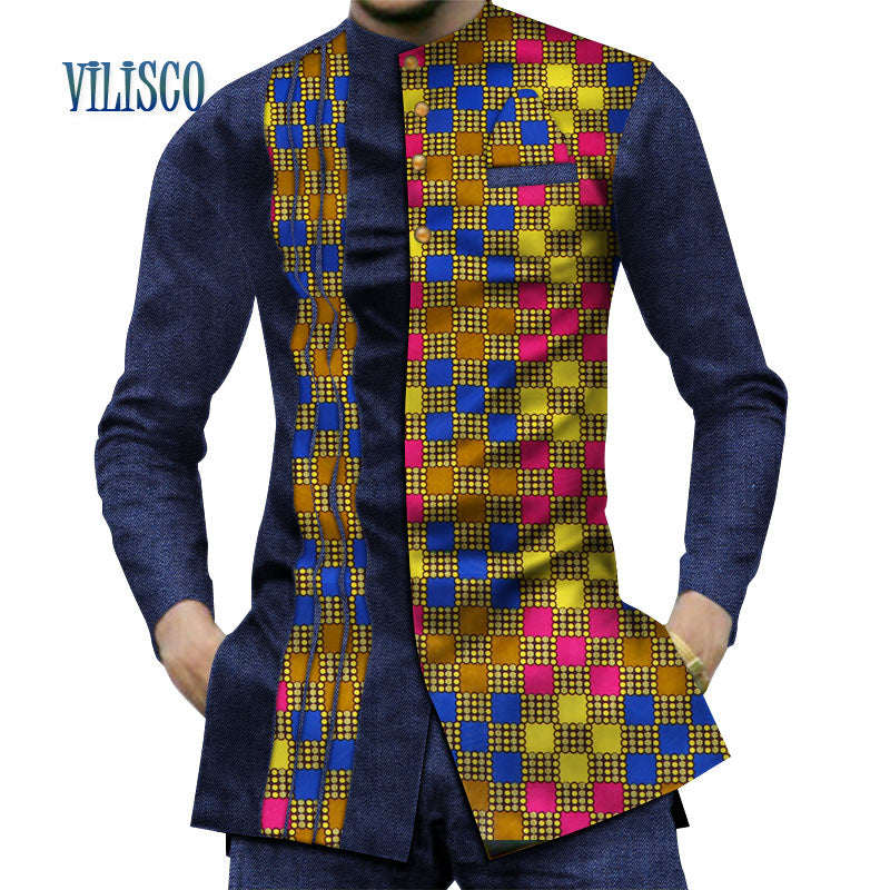 african-clothing-online,2018 Casual 100% Cotton Mens African Clothing Dashiki Patchwork Print Shirt Tops Bazin Riche Traditional African Clothing WYN380,African Clothing Online,