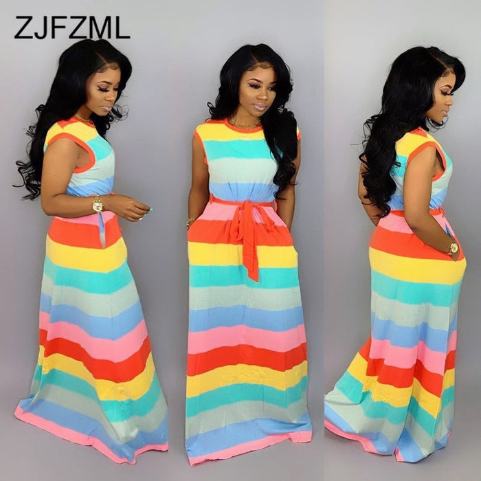 Rainbow Striped Summer Boho Beach Dress Women Round Neck Sleeveless Long Maxi Dresses  Casual High Waist Sashes Plus Size Dress