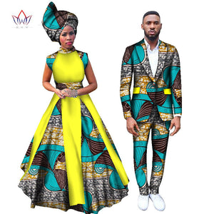 2017 Women Dresses and Men's Blazer Set Ankara Women African Print Clothing Dashiki Maxi Dress Plus Size Africa Clothing afcol197 - African Clothing Online