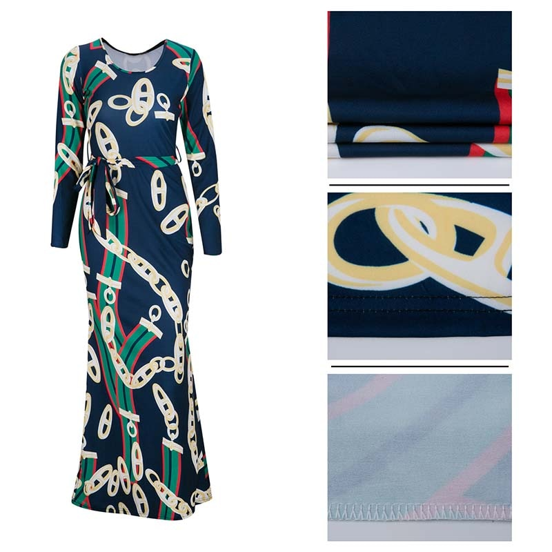 Africa Clothing Trendy Gold Chain Printed Long Sleeve Belted Maxi Dress Women Autumn Bodycon Robe Long Party Plus Size S-XXXL - African Clothing Online