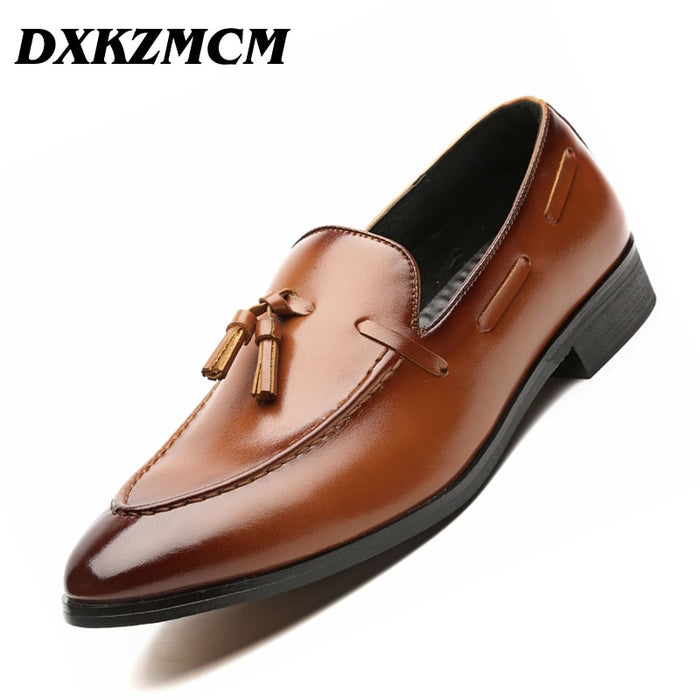 DXKZMCM Handmade  Men Dress Shoes Leather Formal Business Men Oxfords Shoes Wedding Party Brogue Shoes