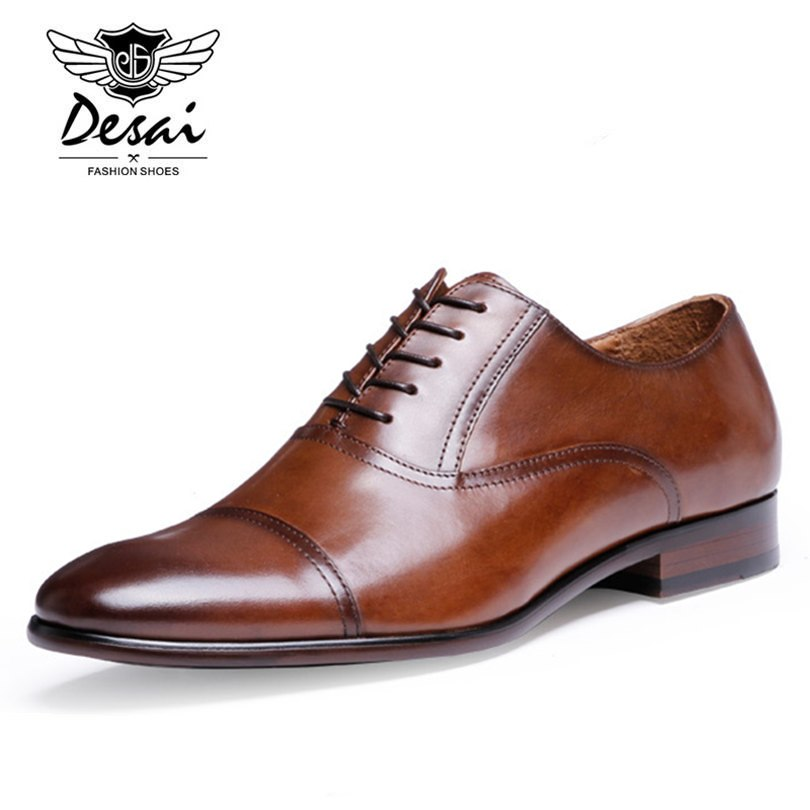 DESAI Brand Full Grain Leather Business Men Dress Shoes Retro Patent Leather Oxford Shoes For Men Size EU 38-47